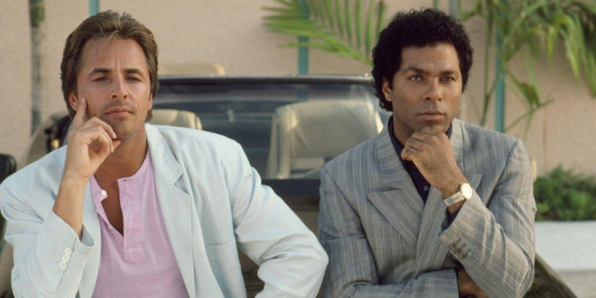 Don Johnson and Philip Michael Thomas on Miami Vice