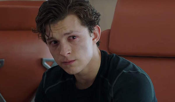 Tom Holland crying as Peter Parker in Spider-Man: Far From Home