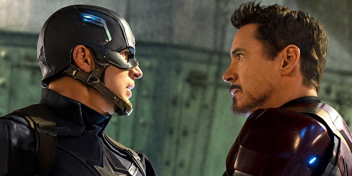 Chris Evans and Robert Downey Jr in Iron Man