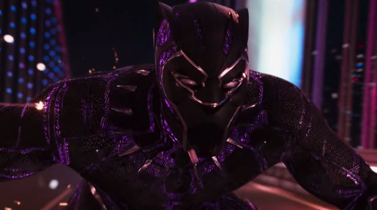 Black Panther costume in chase scene