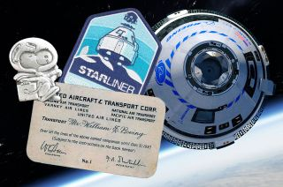NASA Silver Snoopy pins and Boeing founder Bill Boeing's air travel ID card will be flown alongside mission patches and decals on Boeing's CST-100 Starliner orbital flight test to the International Space Station.