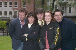Hugh Laurie, Emma Freud, Stephen Fry, Jennifer Saunders and Tony Slattery, 25th April 1991