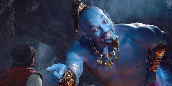 Aladdin 2019 Will Smith blue genie points to Aladdin