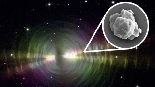 Dust-rich outflows of evolved stars similar to the pictured Egg Nebula are plausible sources of the large presolar grains found in meteorites like Murchison.