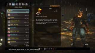 Nioh 2 elixir healing items