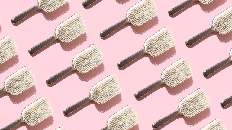 collage of brushes on pink background