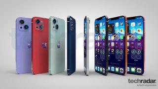 En kunstnerisk tolkning av iPhone 13 i åtte forskjellige farger, inkludert rød, blå og oransje