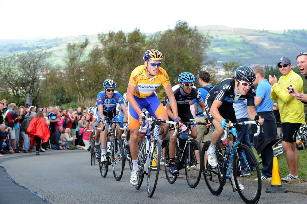 Lars Boom and Geraint Thomas on Caerphilly Mountain, Tour of Britain 2011, stage four
