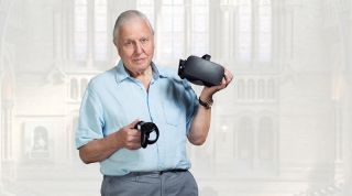 Sir David Attenborough with a VR headset and controller.