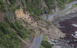 The 7.8-magnitude earthquake that struck New Zealand on Nov. 14, 2016, triggered around 100 landslides. Shown here, a train track and state highway can be seen destroyed by landslide slips.
