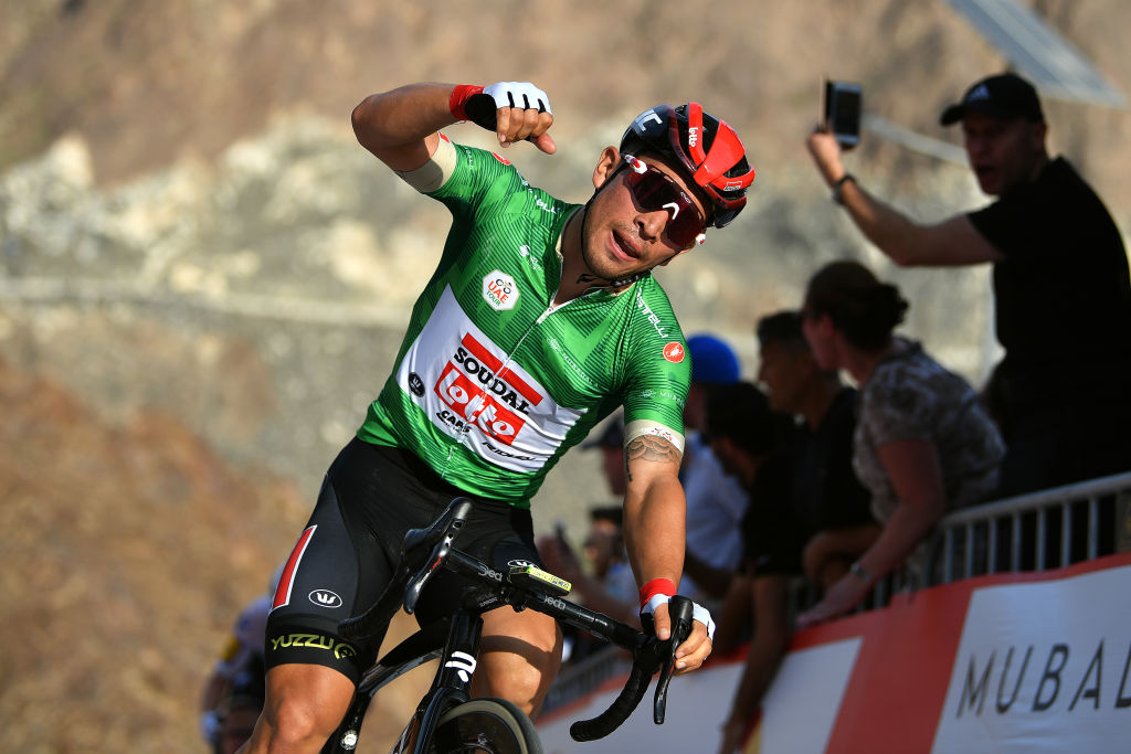 Caleb Ewan wins at Hatta Dam on stage 2 of the 2020 UAE Tour.