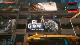 A man floats above his car in Night City