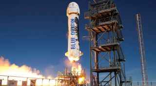 Blue Origin's New Shepard suborbital vehicle lifting off on a test flight in January 2016. An airspace closure noticed published by the FAA Dec. 9 suggests the company is preparing to resume test flights of the vehicle.