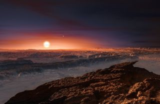A rocky, ridgy planetary surface with large red sun in its sky