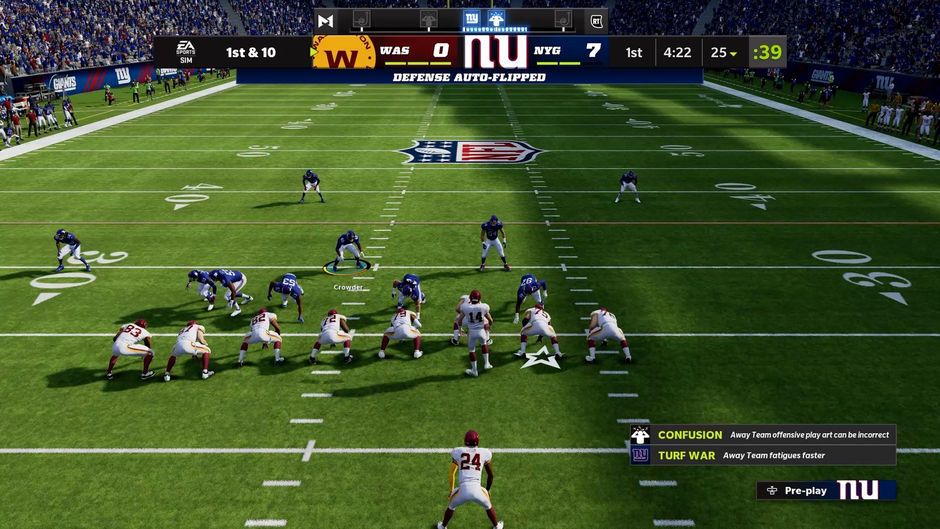 Madden NFL 22 Giants defense on field