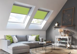 Solar blinds from Keylite on rooflight in loft conversion