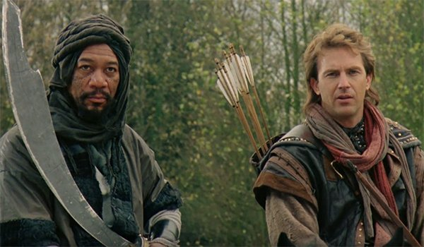 Morgan Freeman and Kevin Costner in Robin Hood: Prince of Thieves