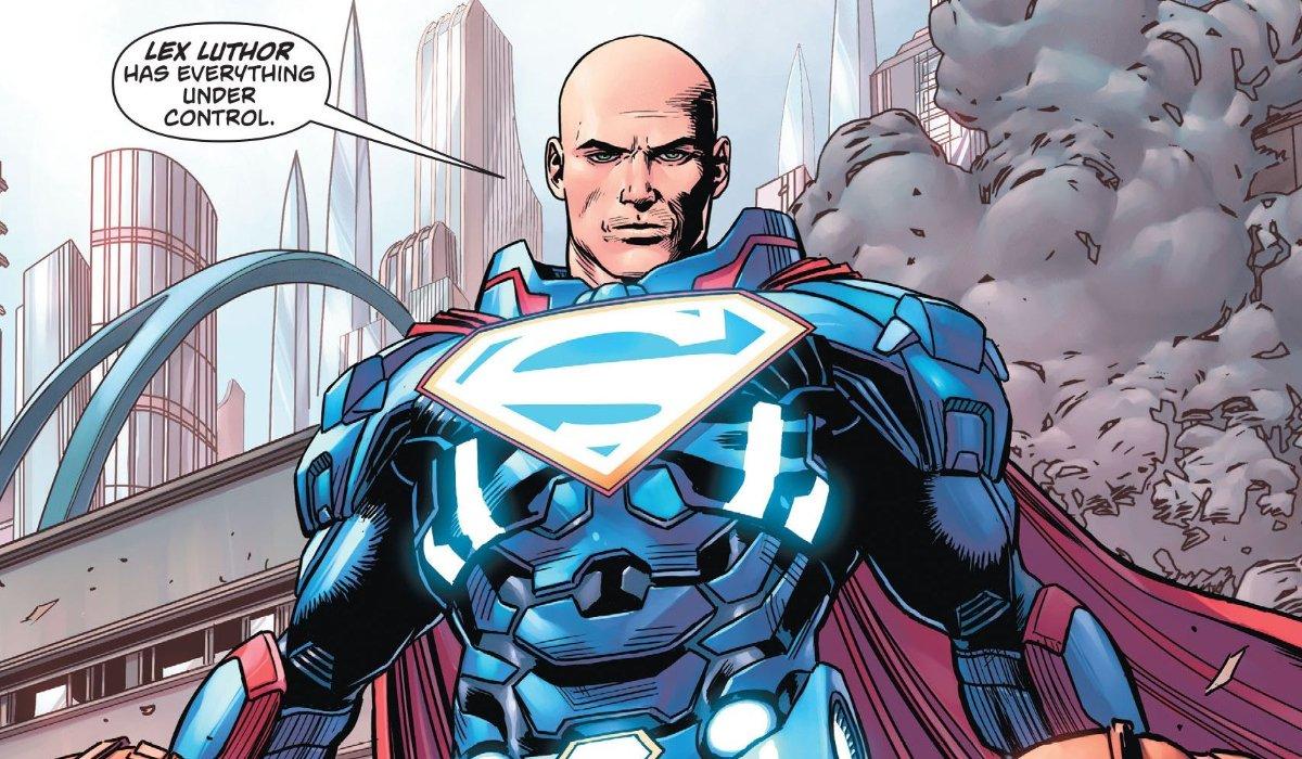 Lex Luthor in bionic Superman armor