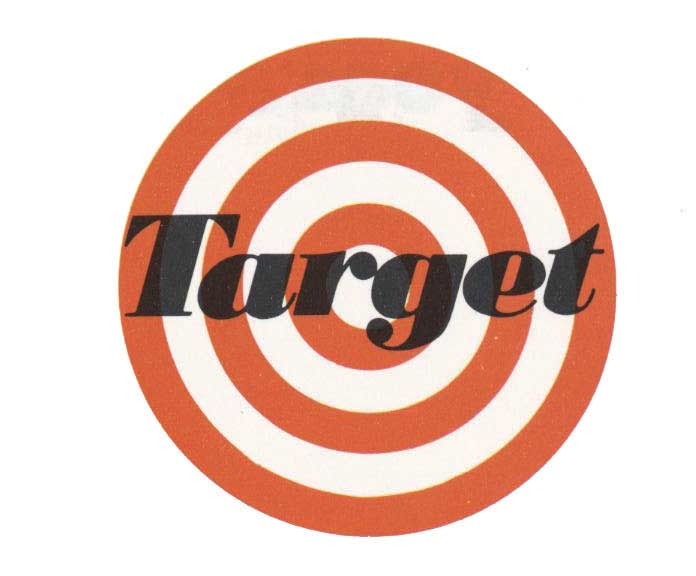 A bullseye-type design with Target written across the middle in black
