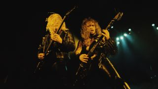 Slayer performs onstage, mid 1980s. Pictured are guitarists Jeff Hanneman (1964 - 2013) (left) and Kerry King