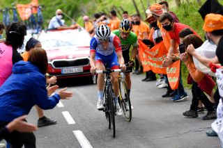 David Gaudu (Groupama-FDJ) on his way to the stage 6 win at Itzulia Basque Country with Primož Roglič (Jumbo-Visma) on his way to overall victory