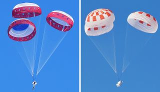 Boeing parachutes and SpaceX Crew Dragon parachutes