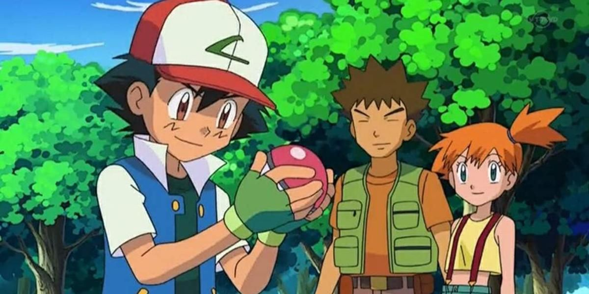 Ash, Brock and Misty in the wood catching Pokemon in Pokemon.