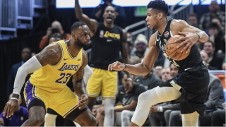 LeBron James (L) and Giannis Antetokounmpo will play on Christmas Day in separate games on ESPN and ABC