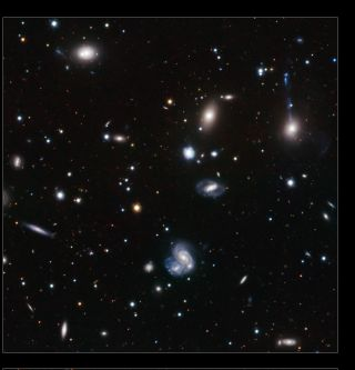 A close-up from a six-pane image of colliding galaxies in the Hercules galaxy cluster.