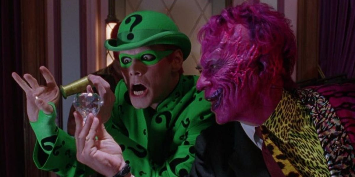Jim Carrey and Tommy Lee Jones in Batman Forever