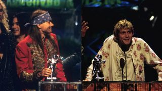 Axl Rose and Kurt Cobain at the 1992 MTV Awards
