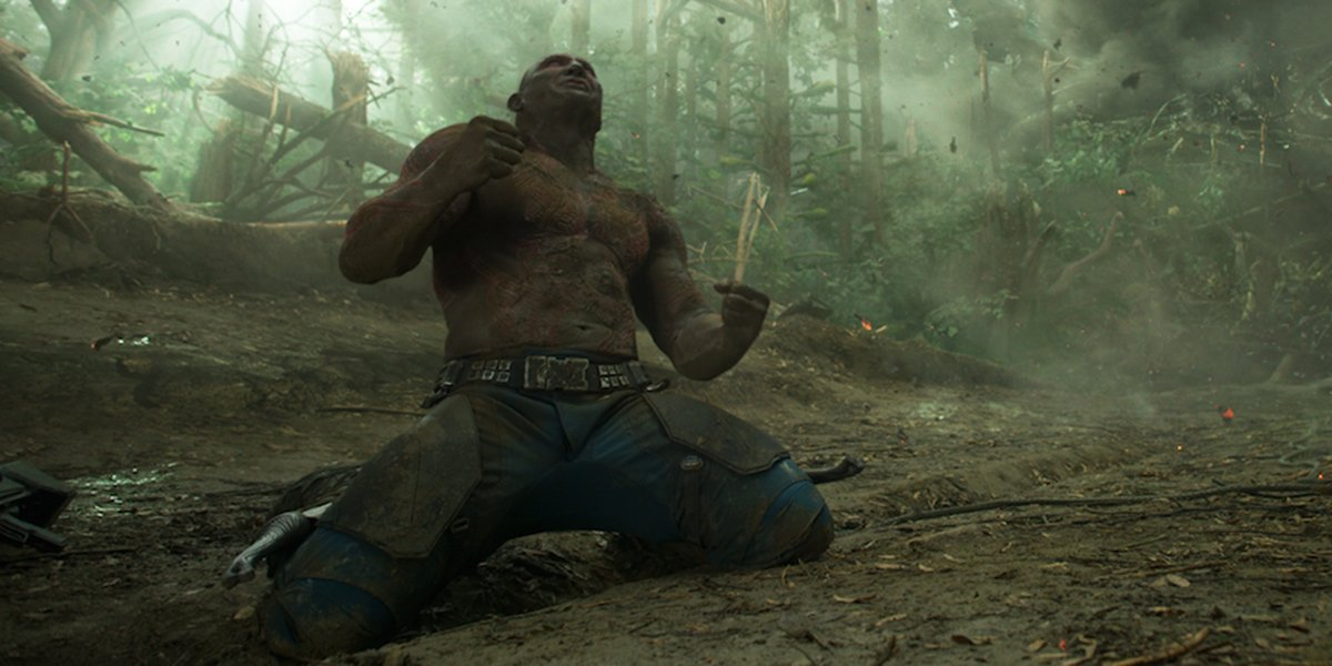 Drax on his knees in grief
