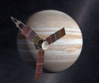 Artistꞌs rendering of NASA's Juno spacecraft arriving in orbit