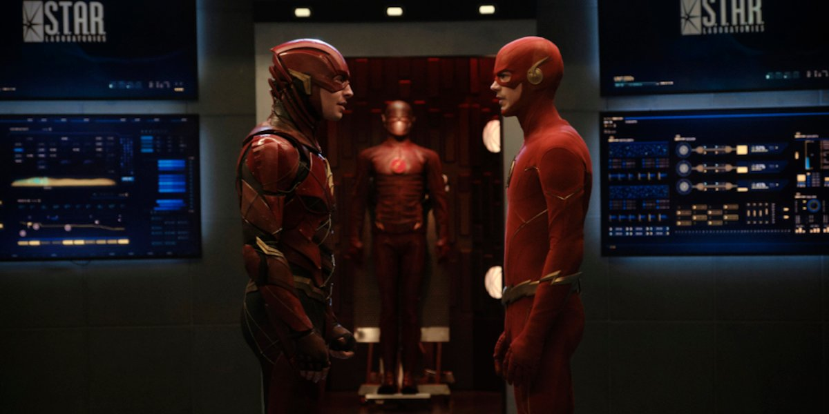 Ezra Miller and Grant Gustin as Flash in Crisis on Infinite Earths