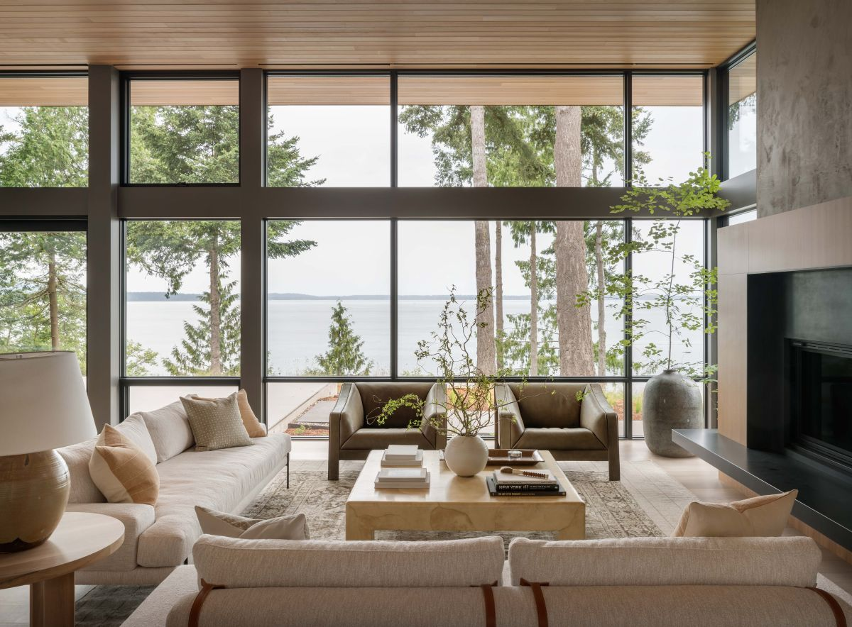 Take a tour of this Scandi-inspired lake house that's a lesson in blending ultra-modern and quirky vintage style