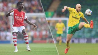 Arsenal vs Norwich City live stream — Bukayo Saka of Arsenal and Teemu Pukki or Norwich City