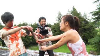 Actors fighting it out in a zombie movie in Shudder Exclusive 'One Cut of the Dead'.