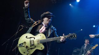 Sylvain Sylvain of New York Dolls performs on stage at KOKO on April 19, 2010 in London, England.