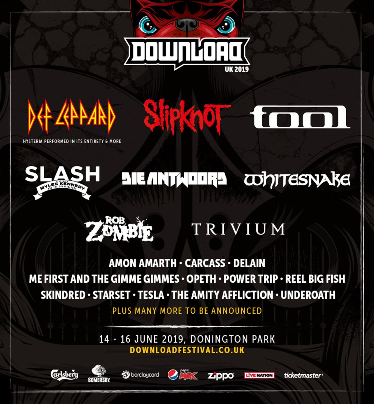 Def Leppard, Slipknot and Tool to headline Download UK 2019