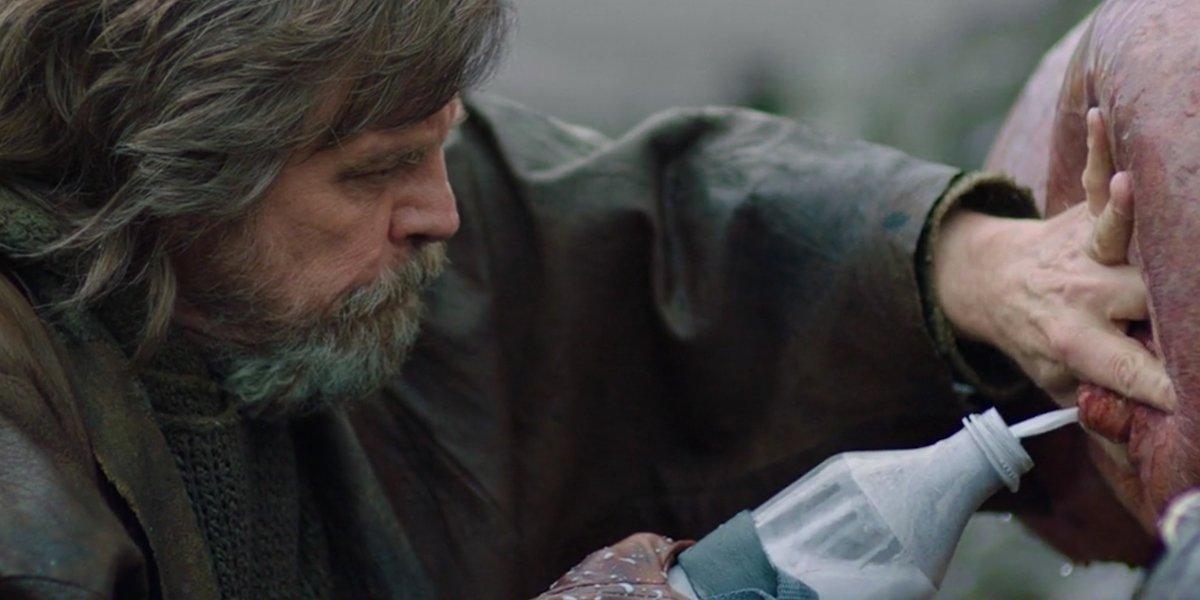 Luke Skywalker getting green milk in The Last Jedi