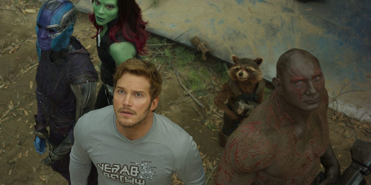 Star-Lord, Drax, Nebula, Rocket and Gamora in Guardians of the Galaxy Vol. 2