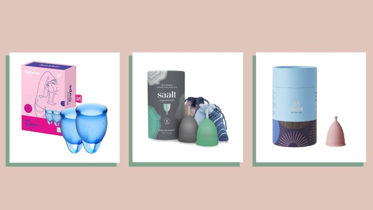 three of the best menstrual cups on peach background