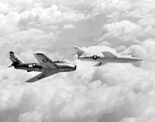 Space History Photo: Skyrocket In Flight With F-86 Chase