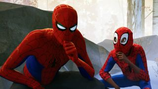 Two versions of Spider-Man from Spider-Man: Into the Spiderverse.