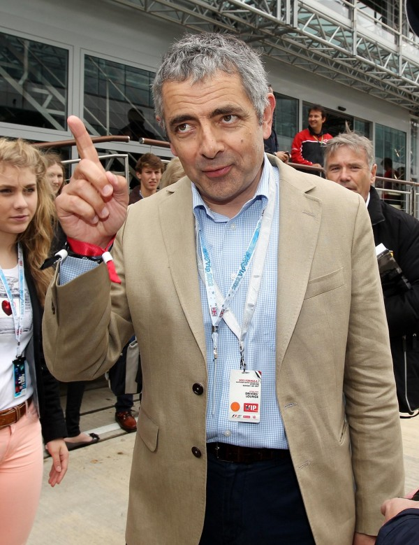 Comedian Rowan Atkinson during the British Grand Prix at Silverstone Circuit, Silverstone.