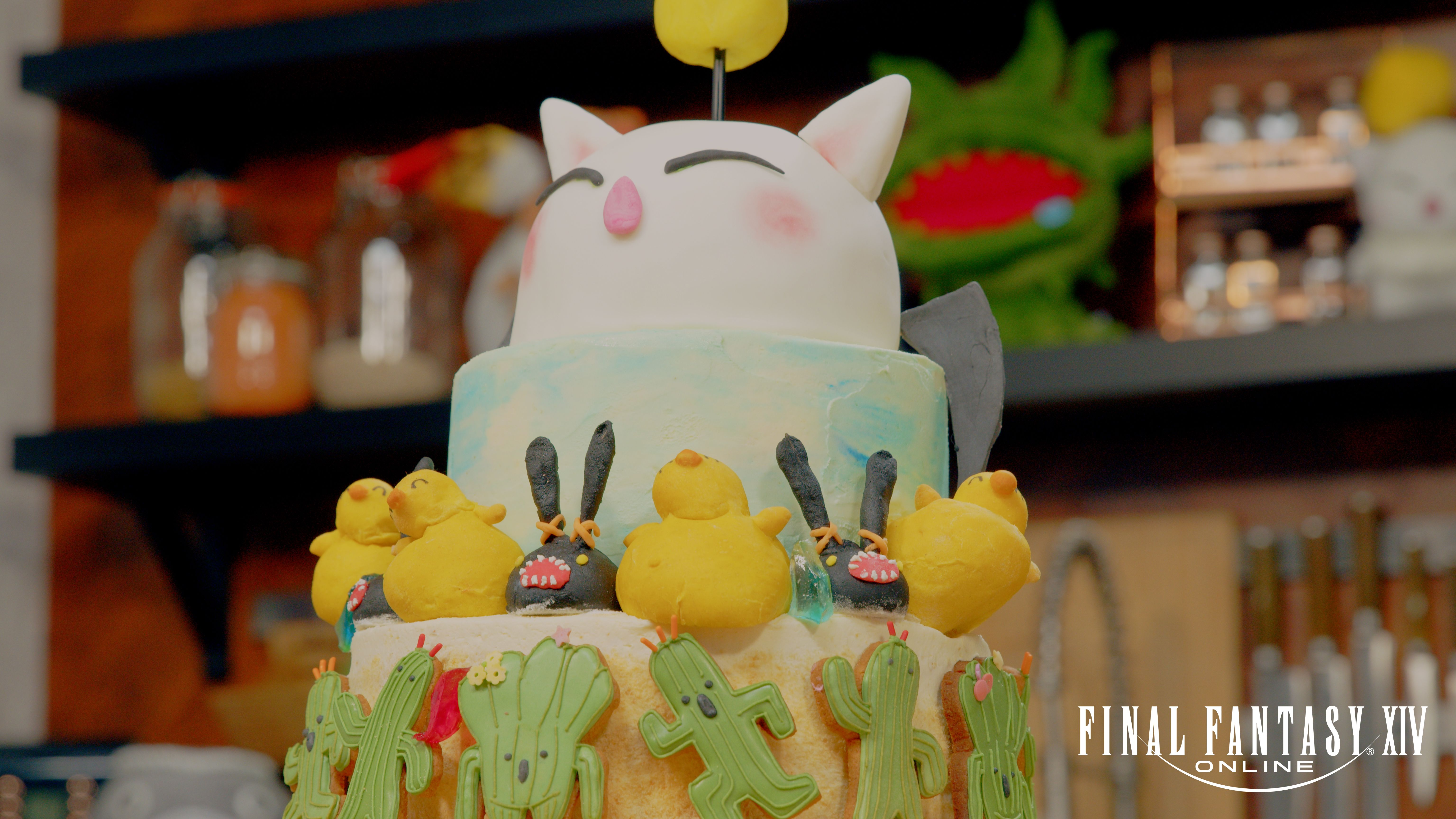 Final Fantasy cake, topped by a moogle