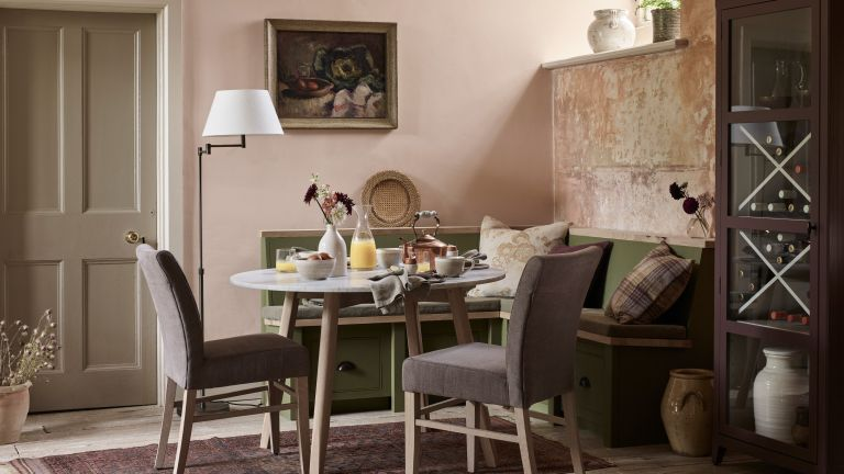 Small dining room idea by Neptune with green corner seating idea and purple furniture