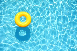 swimming pool, pool, yellow float
