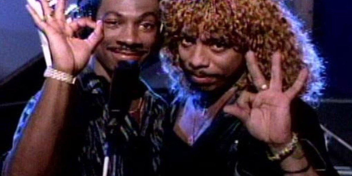 "Eddie Murphy and Rick James in the video for ""Party All the Time"""