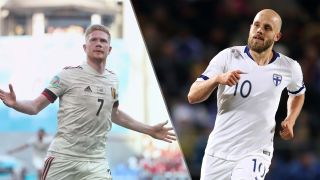 Finland vs Belgium live stream at Euro 2020 — Kevin de Bruyne of Belgium and Teemu Pukki of Finland